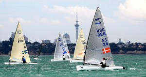 Day 2 at the Finn GoldCup, with Auckland's Sky tower in the background.